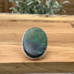 Shop Azurite Rings! Womens Gemstone Silver Statement Ring, Azurite Malachite Silver Ring, Gift For Wife Or Girlfriend, Christmas Present | Natural genuine Azurite rings, simple unique handcrafted gemstone rings. #rings #jewelry #shopping #gift #handmade #fashion #style #affiliate #ad
