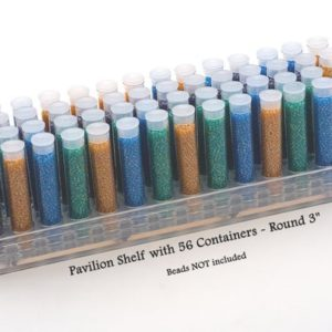 "Shop Bead Storage Containers & Organizers! Bead Pavilion Shelf Round with 56 – 3"" Round Tube Containers and Caps – Seed Bead Storage, Candy Favor Tube, Bead Organizer 