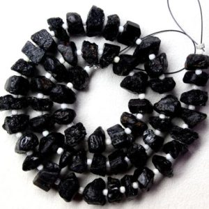 Shop Black Tourmaline Beads! Top Quality 50 Pieces Natural Black Tourmaline Raw, Center Drilled,Uneven Shape Rough, Size 6-8 MM Making Black Jewelry Raw ,Wholesale price | Natural genuine chip Black Tourmaline beads for beading and jewelry making.  #jewelry #beads #beadedjewelry #diyjewelry #jewelrymaking #beadstore #beading #affiliate #ad