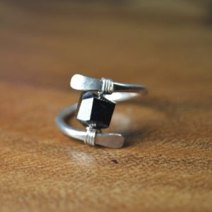 Shop Black Tourmaline Rings! Black Tourmaline Ring in Sterling Silver, 14k Gold // October Birthstone // Unisex Tourmaline Ring // Boho Tourmaline Ring // Crystal Ring | Natural genuine Black Tourmaline rings, simple unique handcrafted gemstone rings. #rings #jewelry #shopping #gift #handmade #fashion #style #affiliate #ad