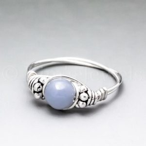 Blue Angelite Bali Sterling Silver Wire Wrapped Gemstone BEAD Ring – Made to Order, Ships Fast! | Natural genuine Angelite rings, simple unique handcrafted gemstone rings. #rings #jewelry #shopping #gift #handmade #fashion #style #affiliate #ad