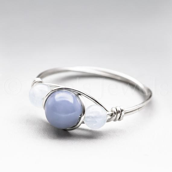 Blue Angelite & Soft Blue Aquamarine Sterling Silver Wire Wrapped Gemstone Bead Ring - Made To Order, Ships Fast!