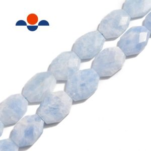 """Shop Calcite Beads! Blue Calcite Rectangle Slice Faceted Octagon Beads Approx 25x35mm 15.5"""" Strand 