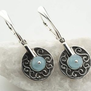 Shop Blue Chalcedony Jewelry! Chalcedony Earrings, Blue Stone, 925, Light Blue Silver Earrings, Sky Blue Stone Earrings, Lever Back Silver Earrings, Baby Blue Chalcedony | Natural genuine Blue Chalcedony jewelry. Buy crystal jewelry, handmade handcrafted artisan jewelry for women.  Unique handmade gift ideas. #jewelry #beadedjewelry #beadedjewelry #gift #shopping #handmadejewelry #fashion #style #product #jewelry #affiliate #ad