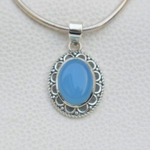 Shop Blue Chalcedony Pendants! Natural Blue Chalcedony Pendant-Handmade Silver Pendant-925 Sterling Silver Pendant-Blue Oval Chalcedony Pendant-Sagittarius Birthstone | Natural genuine Blue Chalcedony pendants. Buy crystal jewelry, handmade handcrafted artisan jewelry for women.  Unique handmade gift ideas. #jewelry #beadedpendants #beadedjewelry #gift #shopping #handmadejewelry #fashion #style #product #pendants #affiliate #ad