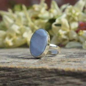 Shop Blue Lace Agate Rings! Handmade Blue Lace Agate Ring, 925 Sterling Silver Ring, Oval Gemstone Ring, Simple Band Ring, Blue Gemstone Ring, Gift For Mom Sis | Natural genuine Blue Lace Agate rings, simple unique handcrafted gemstone rings. #rings #jewelry #shopping #gift #handmade #fashion #style #affiliate #ad