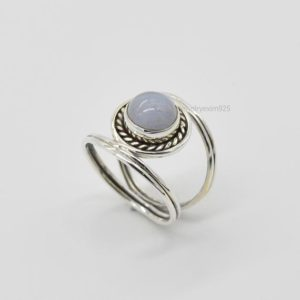 Shop Blue Lace Agate Rings! Natural Blue Lace Agate Ring, 925 Silver Rings, 8mm Round Blue Lace Agate Ring, Women Rings, Gemstone Ring, Blue Agate Ring, Silver Rings | Natural genuine Blue Lace Agate rings, simple unique handcrafted gemstone rings. #rings #jewelry #shopping #gift #handmade #fashion #style #affiliate #ad