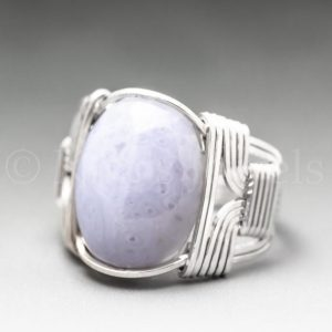 Shop Blue Lace Agate Rings! Blue Lace Agate Sterling Silver Wire Wrapped Gemstone Cabochon Ring – Optional Oxidation/Antiquing – Made to Order, Ships Fast! | Natural genuine Blue Lace Agate rings, simple unique handcrafted gemstone rings. #rings #jewelry #shopping #gift #handmade #fashion #style #affiliate #ad