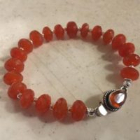 Orange Bracelet – Carnelian Gemstone Jewelry – Sterling Silver Jewellery – Chunky – Box Clasp | Natural genuine Gemstone jewelry. Buy crystal jewelry, handmade handcrafted artisan jewelry for women.  Unique handmade gift ideas. #jewelry #beadedjewelry #beadedjewelry #gift #shopping #handmadejewelry #fashion #style #product #jewelry #affiliate #ad