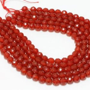 """Shop Carnelian Faceted Beads! GU-5825-3 – Red Carnelian Faceted Round Beads – 64 Facetes – 10mm – Gemstone Beads – 16"""" Full Strand 