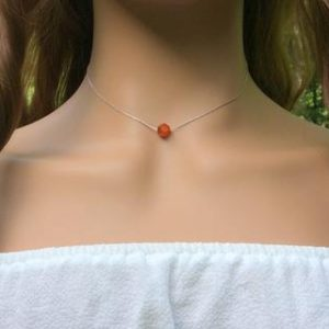 Shop Carnelian Necklaces! Carnelian Choker Necklace Sterling Silver – Sacral Chakra – Dainty Necklace | Natural genuine Carnelian necklaces. Buy crystal jewelry, handmade handcrafted artisan jewelry for women.  Unique handmade gift ideas. #jewelry #beadednecklaces #beadedjewelry #gift #shopping #handmadejewelry #fashion #style #product #necklaces #affiliate #ad