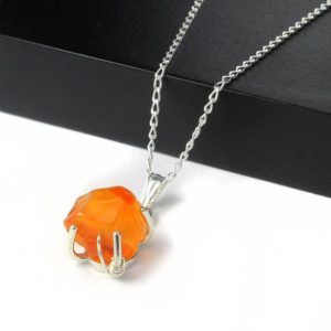 Shop Carnelian Necklaces! Carnelian Necklace Sterling Silver – Mother's Day Gift – Irregular Shaped Rough Raw Carnelian Stone – Rough Gemstone Jewelry | Natural genuine Carnelian necklaces. Buy crystal jewelry, handmade handcrafted artisan jewelry for women.  Unique handmade gift ideas. #jewelry #beadednecklaces #beadedjewelry #gift #shopping #handmadejewelry #fashion #style #product #necklaces #affiliate #ad