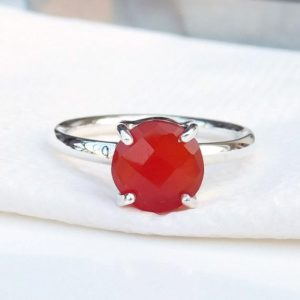 Shop Carnelian Rings! Dark Orange Carnelian Ring, 925 Sterling Silver Ring, Round Gemstone Ring, Simple Band Ring, Can Be Personalized, Statement Ring, Sale, Gift | Natural genuine Carnelian rings, simple unique handcrafted gemstone rings. #rings #jewelry #shopping #gift #handmade #fashion #style #affiliate #ad