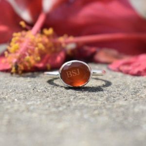 Shop Carnelian Rings! Carnelian Ring, Carnelian Gemstone, Sterling Silver Ring, March Birthstone Ring, Orange Stone Ring, Boho Ring, Handmade Ring, Oval Ring, 925 | Natural genuine Carnelian rings, simple unique handcrafted gemstone rings. #rings #jewelry #shopping #gift #handmade #fashion #style #affiliate #ad