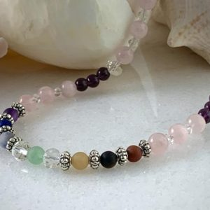 Shop Chakra Beads! Chakra Bead Necklace, Beaded Necklace, Gemstone Jewelry, Rose quartz, Amethyst, Woman's Jewelry, Healing Stone Necklace | Shop jewelry making and beading supplies, tools & findings for DIY jewelry making and crafts. #jewelrymaking #diyjewelry #jewelrycrafts #jewelrysupplies #beading #affiliate #ad