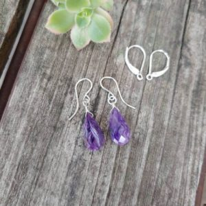 Shop Charoite Earrings! Dainty charoite earrings. Avail in sterling silver, gold filled or rose gold | Natural genuine Charoite earrings. Buy crystal jewelry, handmade handcrafted artisan jewelry for women.  Unique handmade gift ideas. #jewelry #beadedearrings #beadedjewelry #gift #shopping #handmadejewelry #fashion #style #product #earrings #affiliate #ad