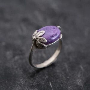 Shop Charoite Rings! Leaf Ring, Charoite Ring, Purple Charoite Ring, Natural Charoite, Purple Ring, Vintage Ring, Scorpio Birthstone, Solid Silver Ring, Charoite | Natural genuine Charoite rings, simple unique handcrafted gemstone rings. #rings #jewelry #shopping #gift #handmade #fashion #style #affiliate #ad