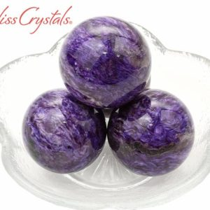 """Shop Charoite Stones & Crystals! 1 Charoite Small Sphere + Stand, 1.1"""" Across, Healing Crystal And Stone For Crown Chakra #cs89 