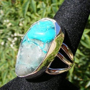 Shop Chrysocolla Rings! CHRYSOCOLLA RING,  Size 10, Chrysocolla Gem Silica, Very Unusual, One Of A Kind, Sterling Silver, Mined In Arizona | Natural genuine Chrysocolla rings, simple unique handcrafted gemstone rings. #rings #jewelry #shopping #gift #handmade #fashion #style #affiliate #ad