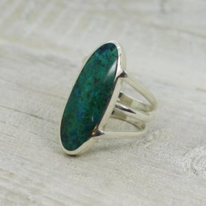 Shop Chrysocolla Rings! Wow… Chrysocolla ring set on sterling silver 925 natural Chrysocolla teal blue ring set on solid silver good quality jewelry | Natural genuine Chrysocolla rings, simple unique handcrafted gemstone rings. #rings #jewelry #shopping #gift #handmade #fashion #style #affiliate #ad