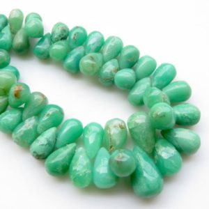 "Shop Chrysoprase Bead Shapes! Natural Chrysoprase Gemstone Beads, Chrysoprase Smooth Teardrop Briolettes Beads Loose, 8mm To 15mm Beads, Sold As 6"" / 3"", Gds1316 