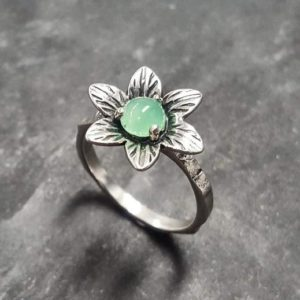 Shop Chrysoprase Rings! Flower Ring, Chrysoprase Ring, Natural Chrysoprase, May Birthstone Ring, Lotus Flower Ring, Vintage Flower Ring, May Ring, Solid Silver Ring | Natural genuine Chrysoprase rings, simple unique handcrafted gemstone rings. #rings #jewelry #shopping #gift #handmade #fashion #style #affiliate #ad