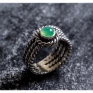 Shop Chrysoprase Rings! Silver Rope Ring, Chrysoprase Ring, Natural Chrysoprase, Thick Silver Ring, Wide Ring, Australian Chrysoprase, Vintage Ring, May Birthstone | Natural genuine Chrysoprase rings, simple unique handcrafted gemstone rings. #rings #jewelry #shopping #gift #handmade #fashion #style #affiliate #ad