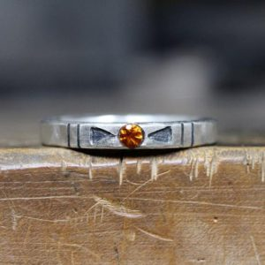 Shop Citrine Rings! Tribal Orange Citrine Arrow Silver Ring Geometric Rustic November Birthstone Gift Idea Stackable Band Boho Arizona Design – Banded Southwest | Natural genuine Citrine rings, simple unique handcrafted gemstone rings. #rings #jewelry #shopping #gift #handmade #fashion #style #affiliate #ad