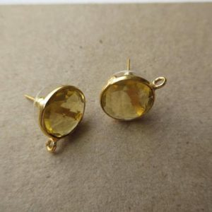Shop Citrine Round Beads! 5 Pairs Citrine Color Hydro Quartz Round Bezel Set Earring Supplies, Gemstone Stud Earring Component Findings With Bail, GDS1041/11 | Natural genuine round Citrine beads for beading and jewelry making.  #jewelry #beads #beadedjewelry #diyjewelry #jewelrymaking #beadstore #beading #affiliate #ad