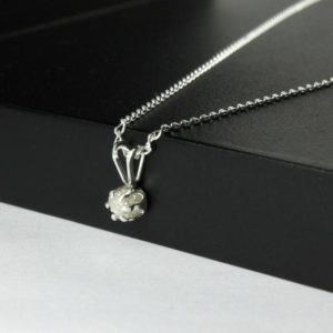Shop Diamond Pendants! 4mm White Rough Diamond Necklace on Sterling Silver – Natural Conflict Free Diamond – Raw Rough Diamond Pendant – April Birthstone | Natural genuine Diamond pendants. Buy crystal jewelry, handmade handcrafted artisan jewelry for women.  Unique handmade gift ideas. #jewelry #beadedpendants #beadedjewelry #gift #shopping #handmadejewelry #fashion #style #product #pendants #affiliate #ad