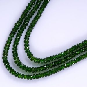 Russian Chrome Diopside CHROME DIOPSIDE Faceted Rondelle Beads Semi Precious Gemstone AAA Quality Chrome Diopside Faceted Rondelle Strand | Natural genuine beads Diopside beads for beading and jewelry making.  #jewelry #beads #beadedjewelry #diyjewelry #jewelrymaking #beadstore #beading #affiliate #ad