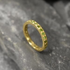 Shop Diopside Rings! Full Eternity Ring, Chrome Diopside Ring, Chrome Ring, Natural Chrome, Gold Eternity Ring, Gold Vintage Ring, Eternity Band, 14K Gold Ring | Natural genuine Diopside rings, simple unique handcrafted gemstone rings. #rings #jewelry #shopping #gift #handmade #fashion #style #affiliate #ad