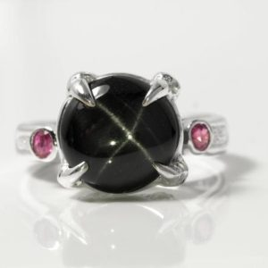 Shop Diopside Rings! Silver black ring, silver gemstone rings, black star silver ring, silver ring black stone, silver claw ring, black star diopside ring silver | Natural genuine Diopside rings, simple unique handcrafted gemstone rings. #rings #jewelry #shopping #gift #handmade #fashion #style #affiliate #ad