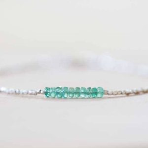 Delicate Emerald Bracelet with Fine Silver, Skinny Karen Hill Tribe Beaded Stacking Bracelet, Sterling Silver Zambian Geniue Emerald Jewelry | Natural genuine Emerald bracelets. Buy crystal jewelry, handmade handcrafted artisan jewelry for women.  Unique handmade gift ideas. #jewelry #beadedbracelets #beadedjewelry #gift #shopping #handmadejewelry #fashion #style #product #bracelets #affiliate #ad