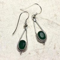 Bo212 – Stone Emerald And 925 Sterling Silver Earrings Drop 30mm | Natural genuine Gemstone jewelry. Buy crystal jewelry, handmade handcrafted artisan jewelry for women.  Unique handmade gift ideas. #jewelry #beadedjewelry #beadedjewelry #gift #shopping #handmadejewelry #fashion #style #product #jewelry #affiliate #ad