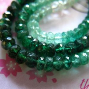 Shop Emerald Faceted Beads! 10-100 pcs, SHADED EMERALD Rondelles Beads, Luxe AAA, 2-3 or 3-4 mm, Faceted, holidays bridal may birthstone true nd true e | Natural genuine faceted Emerald beads for beading and jewelry making.  #jewelry #beads #beadedjewelry #diyjewelry #jewelrymaking #beadstore #beading #affiliate #ad