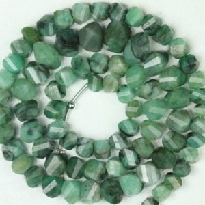 Shop Emerald Faceted Beads! 17 inch long strand faceted EMERALD twisted rondelle beads 4 x 5 — 7 x 9 mm approx | Natural genuine faceted Emerald beads for beading and jewelry making.  #jewelry #beads #beadedjewelry #diyjewelry #jewelrymaking #beadstore #beading #affiliate #ad