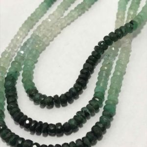 Shop Emerald Faceted Beads! Natural Emerald Shaded Micro Faceted Rondelle Beads, 3mm to 4mm, 16 inches, Green Beads, Gemstone Beads, Rare Beads, Semiprecious Beads | Natural genuine faceted Emerald beads for beading and jewelry making.  #jewelry #beads #beadedjewelry #diyjewelry #jewelrymaking #beadstore #beading #affiliate #ad