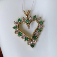 10k Gold Natural Emerald Diamond Heart Pendant Yellow Gold Jewelry Gift | Natural genuine Gemstone jewelry. Buy crystal jewelry, handmade handcrafted artisan jewelry for women.  Unique handmade gift ideas. #jewelry #beadedjewelry #beadedjewelry #gift #shopping #handmadejewelry #fashion #style #product #jewelry #affiliate #ad