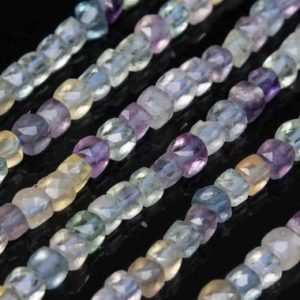 Shop Fluorite Faceted Beads! Genuine Natural Multicolor Fluorite Loose Beads Grade AA Faceted Cube Shape 3mm | Natural genuine faceted Fluorite beads for beading and jewelry making.  #jewelry #beads #beadedjewelry #diyjewelry #jewelrymaking #beadstore #beading #affiliate #ad
