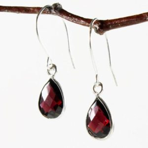 Shop Garnet Earrings! Garnet Sterling Silver Earrings natural red gemstone simple everyday dainty dangle teardrops January birthstone holiday gift for her 3781 | Natural genuine Garnet earrings. Buy crystal jewelry, handmade handcrafted artisan jewelry for women.  Unique handmade gift ideas. #jewelry #beadedearrings #beadedjewelry #gift #shopping #handmadejewelry #fashion #style #product #earrings #affiliate #ad