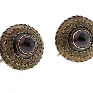 Shop Garnet Earrings! Vintage Gold Plated Garnet Screw Earrings | Natural genuine Garnet earrings. Buy crystal jewelry, handmade handcrafted artisan jewelry for women.  Unique handmade gift ideas. #jewelry #beadedearrings #beadedjewelry #gift #shopping #handmadejewelry #fashion #style #product #earrings #affiliate #ad
