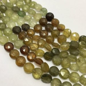 Shop Garnet Faceted Beads! 7 – 8 mm Grossular Garnet Faceted Coin Gemstone Beads Strand Sale / Semi Precious Beads / Grossular Garnet Beads / Faceted Garnet Beads | Natural genuine faceted Garnet beads for beading and jewelry making.  #jewelry #beads #beadedjewelry #diyjewelry #jewelrymaking #beadstore #beading #affiliate #ad