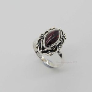 Shop Garnet Rings! Natural Garnet Ring, Sterling Silver Ring, Women Rings, 6×12 mm Marquise Garnet Ring, Oxidized Ring, Garnet Silver Ring, Red Garnet Ring | Natural genuine Garnet rings, simple unique handcrafted gemstone rings. #rings #jewelry #shopping #gift #handmade #fashion #style #affiliate #ad