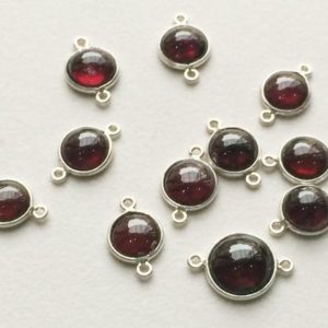 Shop Garnet Round Beads! 8-11mm Garnet Double Loop Connectors, Garnet 925 Silver Connectors, Round Garnet Bezel Connectors, Silver Charm (5Piece To 10Piece Options) | Natural genuine round Garnet beads for beading and jewelry making.  #jewelry #beads #beadedjewelry #diyjewelry #jewelrymaking #beadstore #beading #affiliate #ad