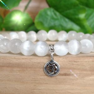 Genuine Selenite Bracelet, Om Crystal Healing Yoga Bracelet, Sterling Silver Om Jewelry, RT133 | Natural genuine Gemstone bracelets. Buy crystal jewelry, handmade handcrafted artisan jewelry for women.  Unique handmade gift ideas. #jewelry #beadedbracelets #beadedjewelry #gift #shopping #handmadejewelry #fashion #style #product #bracelets #affiliate #ad