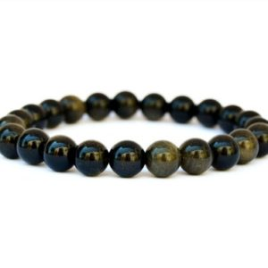 Shop Golden Obsidian Bracelets! Golden Obsidian Beaded Bracelet – 8mm Beads – Obsidian String Bracelet – Healing Crystal Bracelet – Therapeutic Jewelry | Natural genuine Golden Obsidian bracelets. Buy crystal jewelry, handmade handcrafted artisan jewelry for women.  Unique handmade gift ideas. #jewelry #beadedbracelets #beadedjewelry #gift #shopping #handmadejewelry #fashion #style #product #bracelets #affiliate #ad