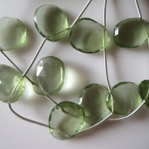 Shop Green Amethyst Beads! 5 Pieces 15mm to 18mm Hydro Quartz Green Amethyst Color Side Drilled Faceted Flat Back Rose Cut Loose Cabochons RR15/1 | Natural genuine faceted Green Amethyst beads for beading and jewelry making.  #jewelry #beads #beadedjewelry #diyjewelry #jewelrymaking #beadstore #beading #affiliate #ad