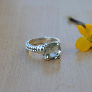 Shop Green Amethyst Rings! Beautiful Prasiolite Gemstone Ring,Solid 925 Sterling Silver Designer Ring,Square Cut Prasiolite Ring,Natural Birthstrone Ring,Gift for her | Natural genuine Green Amethyst rings, simple unique handcrafted gemstone rings. #rings #jewelry #shopping #gift #handmade #fashion #style #affiliate #ad
