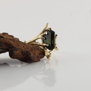 2.5ct Hand Cut Green Tourmaline Engagement, Anniversary Ring in a 14k Yellow Gold Twig Setting by Dawn | Natural genuine Green Tourmaline rings, simple unique alternative gemstone engagement rings. #rings #jewelry #bridal #wedding #jewelryaccessories #engagementrings #weddingideas #affiliate #ad